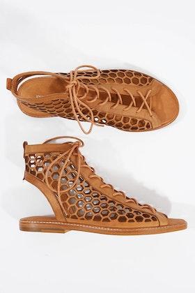 Django & Juliette Nifty Leather Flat Sandal
