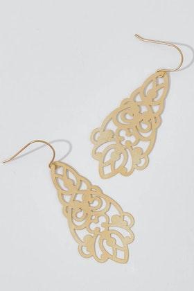 Tiger Tree Gold Lantern Filigree Earrings