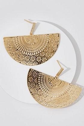 Tiger Tree Ornate Gold Fan Earrings