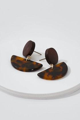 Tiger Tree Tortoise Shell Semi Circle Earrings