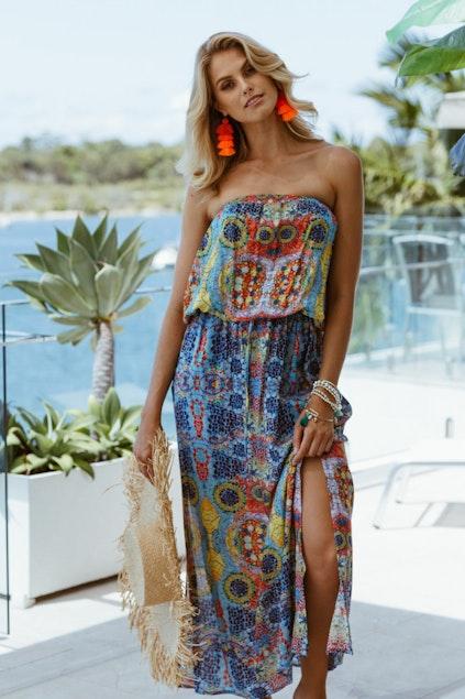 e30319205c2 Lula Life Mosaic Strapless Dress - Womens Maxi Dresses - Birdsnest ...