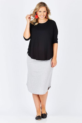 Vigorella Curved Hem Boxy Top