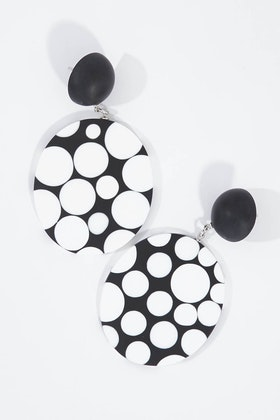 Ruby Olive Monochrome Polka Dot Disc Earrings