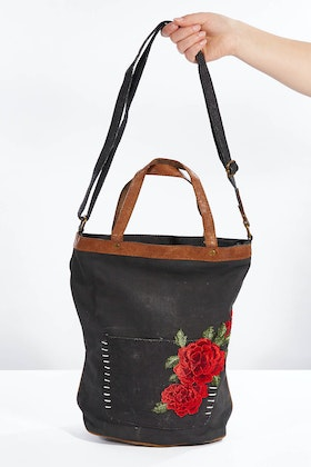 Mona B Rosette Shoulder Tote Bag