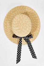 Polka Dot Boater Hat
