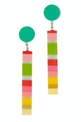 Ruby Olive Carousel Artisan Striped Dot Earrings
