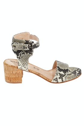 Walnut Mason Cork Block Sandal Heel