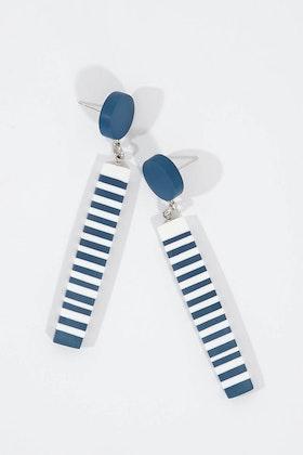 Ruby Olive French Twist Striped Dot Earrings