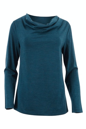 Merino Essentials Merino Wool Knit Cowl Neck Top
