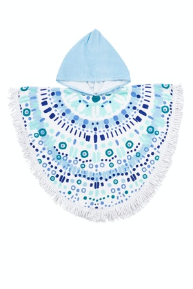 Bambury Printed Cotton Kids Fringe Poncho Towel