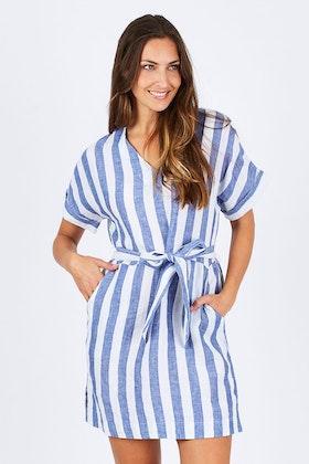JAG Linen V Neck Belted Dress