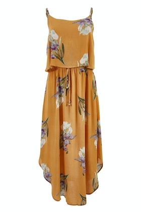 Spicy Sugar Mustard Floral Layered Dress