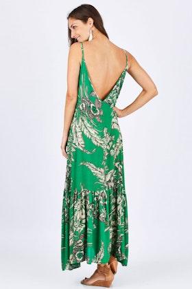 Spicy Sugar Leaf Print Low Back Maxi Dress
