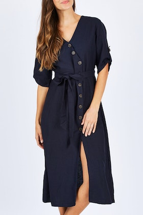 Spicy Sugar Button Detailed Mid Length Dress