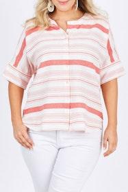 The Stripe Button Through Top