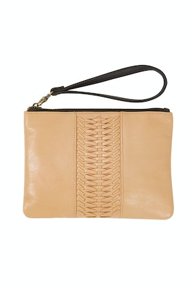 Ovae Grecian Leather Wrislet Clutch Bag