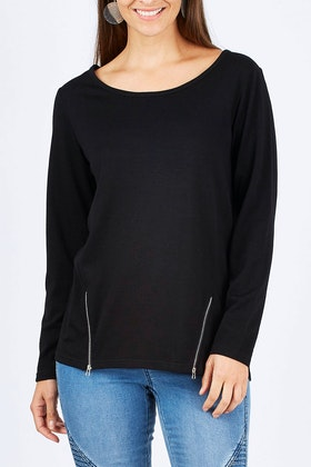 Merino Essentials Merino Wool Top With Zips