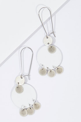 Isle & Tribe Antique Silver Pia Drop Earrings