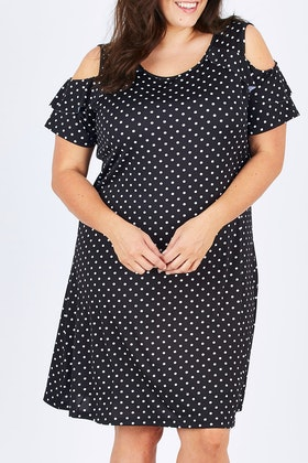 Cordelia St Cold Shoulder Spot Dress