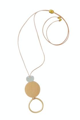 Rancho Natural Wood And Stone Circle Pendant Necklace