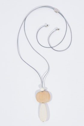 Rancho Natural And Colour Wood Pendant Necklace