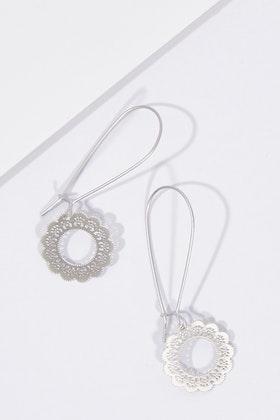 Rancho Circular Flower Hook Earrings