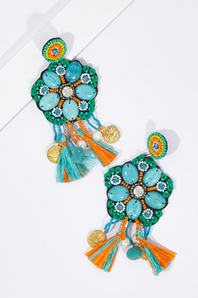 Zoda Beaded Tassel And Ball Earrings