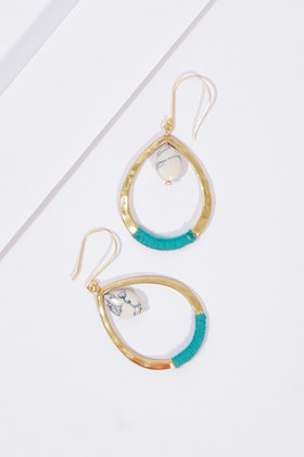 Zoda Teardrop Stone Hanging Earrings