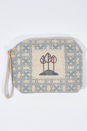 Rancho Raffia Linen Clutch Bag