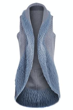 Threadz Faux Fur Knit Vest