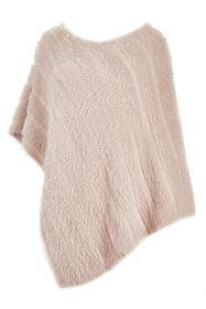 Faux Fur Knit Poncho