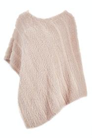 Faux Fur Knit Poncho