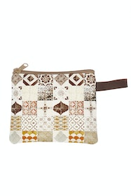 Printed Zipper Clutch Bag