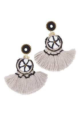 Zoda Embroidered Tassel Earrings
