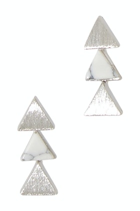 Eb & Ive Three Triangle Earpin Howlite Earrings
