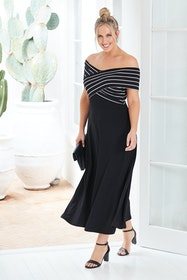 Belle Off Shoulder Stripe Dress
