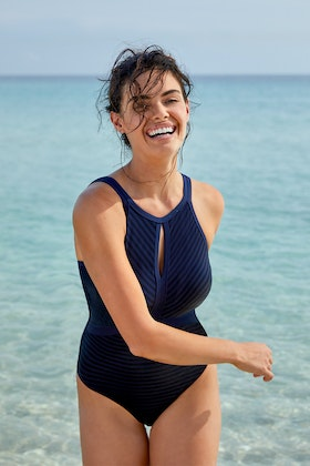 Sea Level Highneck Panelled Multifit One Piece