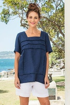 See Saw Square Nk Fray Trim Top