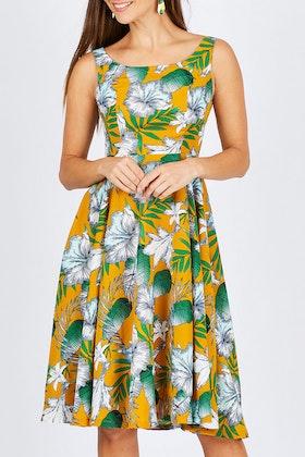 Elise Etta Mustard Floral Dress
