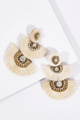Zoda Triple Hanging Tassel Earrings