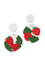 Large Dangle Strawberry Earrings