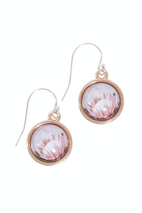 Nest Of Pambula Protea Sterling Silver Drop Earrings
