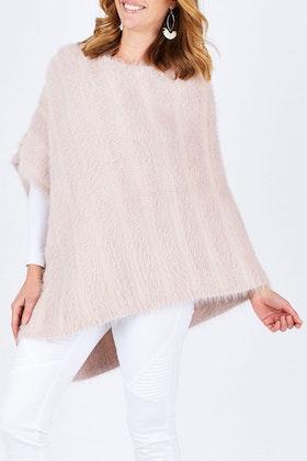 Threadz Faux Fur Knit Poncho