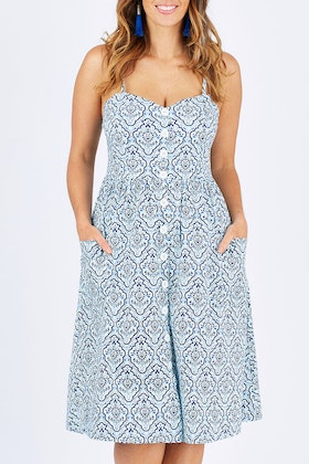 handpicked by birds Buttoned Midi Dress