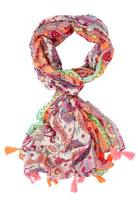 Greenwood Designs Bright Print Scarf With Tassels