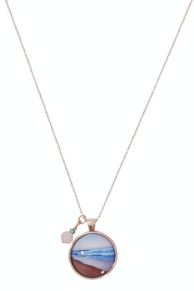 Nest Of Pambula Bournda Pendant With Rose Quartz Bead Necklace