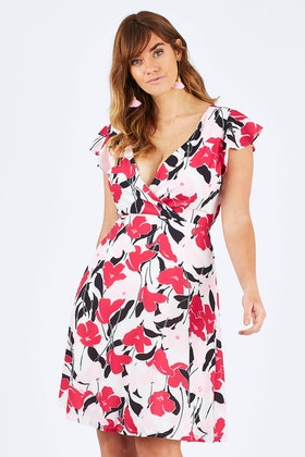 Spicy Sugar Pink Mono Wrap Dress
