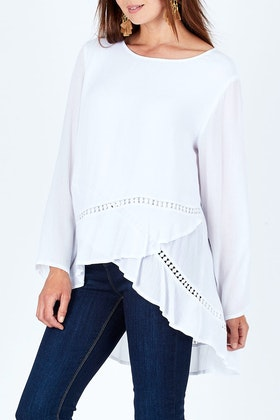 Clarity By Threadz Lace Insert Layered Top