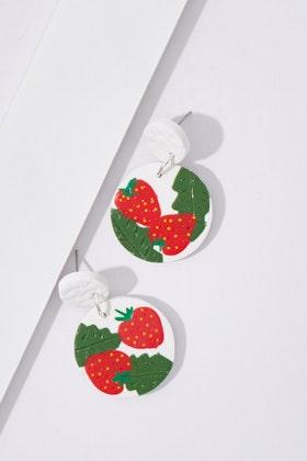 Seeking Hazel Large Dangle Strawberry Earrings