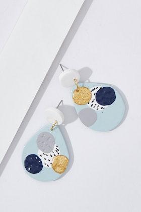 Seeking Hazel Large Dangle Blue Dot Earrings